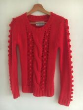 Ladies Jumper Size 8 Red Cable Knot Acrylic Atmosphere <T16573