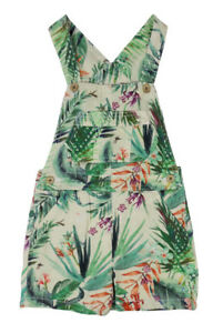 GIRLS EX  MAJOR HIGHSTREET FLORAL TROPICAL  SHORTS DUNGAREES 3 MONTHS - 5 YEARS
