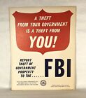 Vintage FBI Theft From Your Governent Is A Crime Cardboard Sign 1970