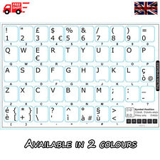 Italian White Keyboard Stickers with White Letters for Laptop Computer PC