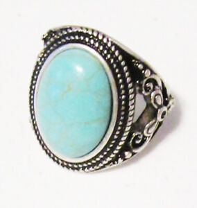 Premier Designs Jewelry Turquoise Ring in Antiqued Silver Size 7