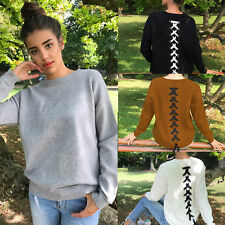 Women's V-Neck Knitted Sweater Oversized Long Sleeve Loose Jumper Tops Knitwear
