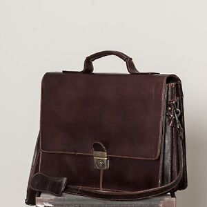 Classic Brown Leather Shoulder Attache Bag