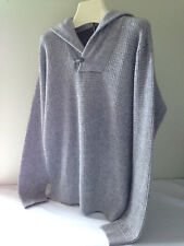 NWT MAGASCHONI Gorgeous Men's Heather Grey Wool Cashmere Hooded Sweater M $248