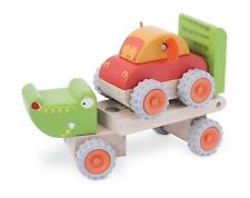 Wonderworld Crocodile Trailer, Toddler Wooden Truck with Bonus Wood Push Car