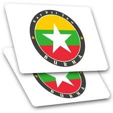 2 x Rectangle Stickers 10 cm - Burma Nay Pyi Taw Burmese Flag #5635