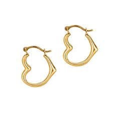 Heart Hoop Earrings 10K Real Yellow Gold