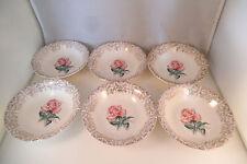 Vintage Jubilee 22K Gold Warranted Pink Rose Set of 6 Berry Bowls