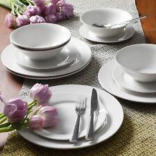 Gibson Home White Round 12 Piece Dinnerware Ceramic Dishes Plate Bowl Dinner Set