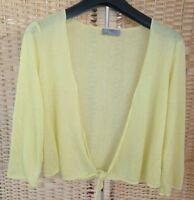 M&S Per Una Cover Up Bolero Shrug Short Cardigan Light Yellow Size 12 Thin Knit