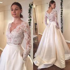 Fashion V neck Long Sleeve Wedding Dress Bridal Gown Custom Size 4-6-8-10-12++++