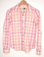The North Face Womens Orange Pink Plaid Shirt Long Sleeve Cotton Button Size XS