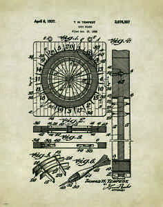 Dart Board Patent Art Print Vintage Bar Darts Supplies Game Room Wall Decor