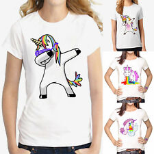 Unicorn Printed T-Shirt Women's Casual O-neck Cotton Tee Tops Blouse Pullover UK