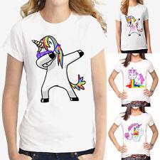 Women Unicorn Short Sleeve T Shirt Cotton Summer Casual Blouse Tee Loose Tops UK