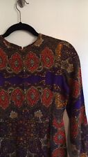 Vintage Boho Paisley Dress 70's XS Purple Free People Vntg