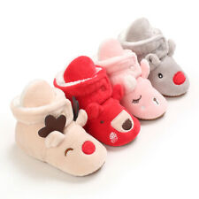 Christmas GIFT Baby Boy Girl Crib Shoes Infant Toddler Winter Warm Boots 0-18 M