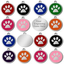 Personalised Engraved Round S/Steel Paw Name Identity Dog Cat Pet Tags Disc Disk