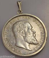 3 Mark Silbermünzanhänger aus dt. Kaiserreich 1909 F - Wilhelm II. Württemberg