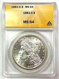 1881-S Morgan Silver Dollar - ANACS MS64 - REVERSE RAINBOW TONING!!!