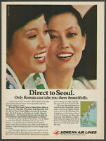 KOREAN AIRLINES - Direct to Seoul - 1982 Vintage Print Ad