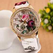 Fashion Women's Leather Stainless Steel Flower Dial Analog Quartz Wrist Watch HS