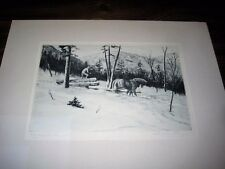 Churchill Ettinger Signed Limited Edition Etching Logging in Vermont with Horses