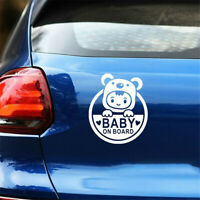 Baby On Board WHITE Auto Car Window Sticker PVC Vinyl Decal Waterproof Universal