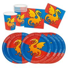 Boys Knights Dragon Medieval Feast Birthday Partyware Set Cups Plates Napkins