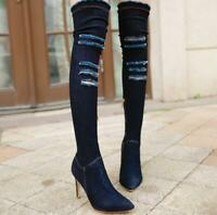 Over Knee Pointed High-heeled Tube Cotton Stiletto Fashion Women's Boots Yoooc