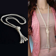 Women Fashion White Artificial Pearls Long Chain Charms Sweater Necklace