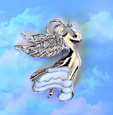 WHITE ANGEL RHINESTONE SILVER BROOCH PIN~NURSING GRADUATION GIFT FOR HER FRIEND
