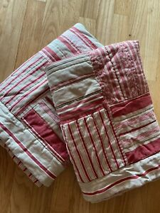 """Pottery Barn Shams Patchwork Quilted Boutis Euro Pair Red Tan Cotton 26"""" Square"""