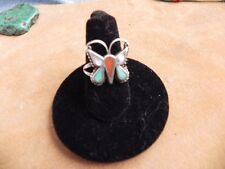 Turquoise, Coral & Mother of Pearl Sterling Silver BUTTERFLY Ring size 6.25 Zuni