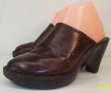 Born Womens US 7M EU 38 Brown Leather Slip-On Mules Clogs Casual Shoes Pre-Owned