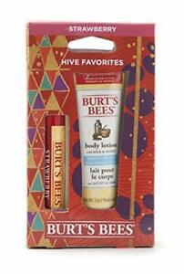 Burt's Bees Hive Favorites, Strawberry Lip Balm & Body Lotion With Milk & Honey