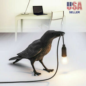 Resin Bird Table Lamps Crow LED Desk Lamp Bedroom Fixture Sconce US Plug