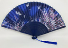Blossom and Butterfly Blue and Pink Fan with Tassel