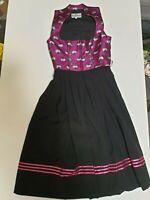 Gamsbock Leder u Tracht Dirndl Fuchsia lila pink schwarz Edelweiß Gr. XS 34 NEU
