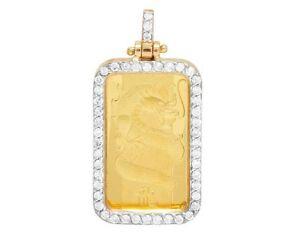 "22K Yellow Gold 5G Dragon Coin Genuine Diamond Pendant Charm 1 1/10 Ct 1.25"""