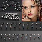 10PCS/Pack Gem Jewelry Body Piercing Crystal Screw Stud Nostril Hoop Nose Ring