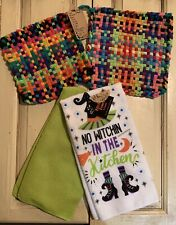 """New listing 2 New Handmade Potholders w/ 2 Halloween Tea Towels- """"No Witchin in the Kitchen�"""