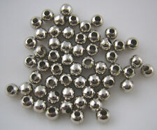 100 x Antique Silver Smooth Ball Spacer Beads Jewellery Findings 4mm - L00302 *