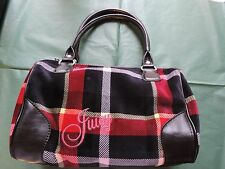 JUICY COUTURE Fluffy Velour Plaid Purse Bag Handbag