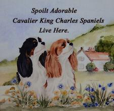 CAVALIER KING CHARLES SPANIELS DOG tri blenheim SPOILT DOG PLAQUE TILE