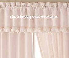 Cottage Window Valance Double Ruffles & Tulle Shabby Pink and Ivory Silk Chic