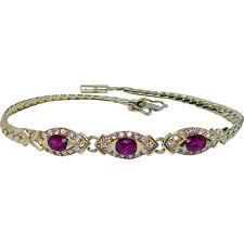 Vintage H Stern Ruby Diamond Bracelet 18K Gold Designer Signed Estate