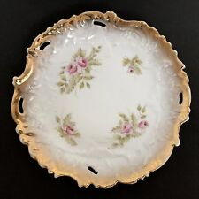 Antique Dresden Reticulated Rose Plate Gold Romantic French Country Shabby Chic