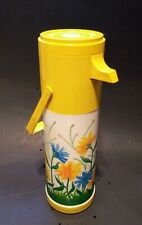 Aladdin's Pump A Drink Thermos Drink Dispenser Vintage Yellow Floral W/ Handle