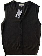 Men's TURNBURY Gray Merino Wool Cardigan Sweater Vest Large L NEW NWT BIELLA